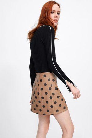 Zara Mini jupe en cuir synthétique à pois