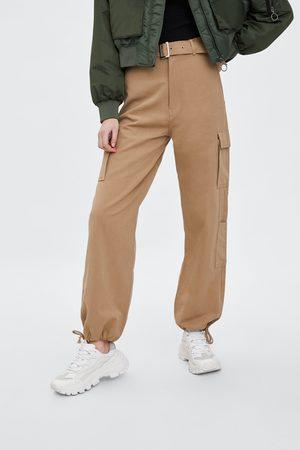 pantalon femme beige zara