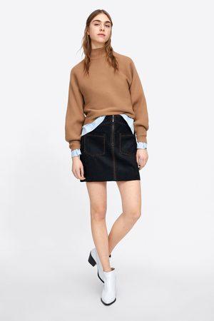 Zara Mini-jupe avec surpiqûres effet daim
