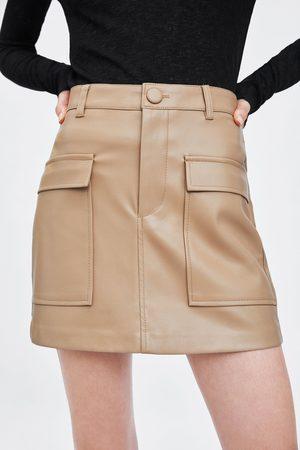 Zara Mini-jupe en cuir synthétique
