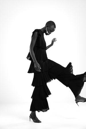 Zara Pantalon en maille avec volants