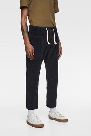 Zara Pantalon style jogging à taille élastique en velours côtelé
