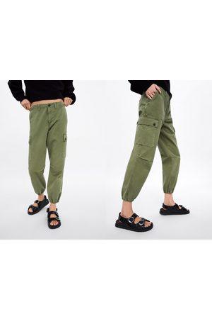 pantalon cargo femme kaki zara