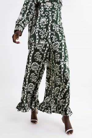 Zara Pantalon à imprimé floral et volant