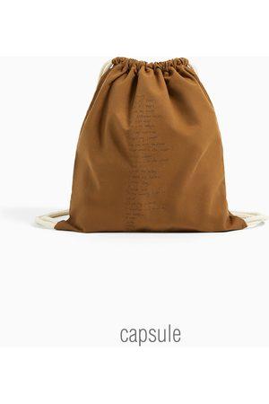 Zara Sac seau en coton imprimé