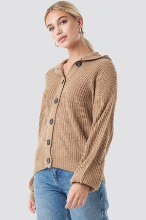 NA-KD Hood Knitted Sweater - Brown