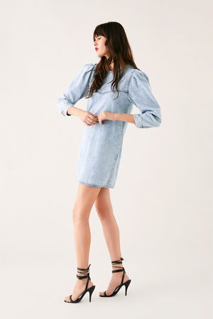 Zara Robe en jean à manches bouffantes