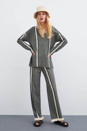 Zara Pantalon à rayures avec franges