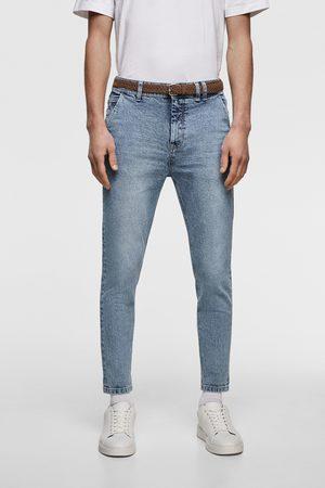 Zara Pantalons classiques - Jean coupe carotte cropped