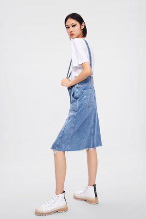 Zara Femme Jupes en jean - Jupe en jean à bretelles