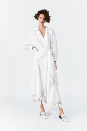 Zara Femme Robes asymétriques - Robe portefeuille en lin à franges