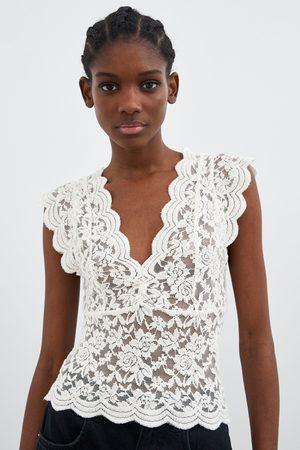 Vêtements femme top dentelle Zara - comparez