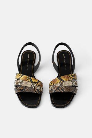 Zara Femme Sandales - Sandales plates à brides et imprimé animalier