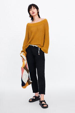 Zara Femme Pantalons larges - Pantalon fluide avec ceinture