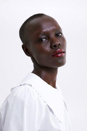 Zara Blouse en popeline à col claudine