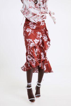 Zara Jupe à imprimé floral et volant