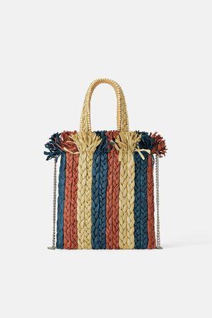 Zara Sac mini shopper naturel en matières variées