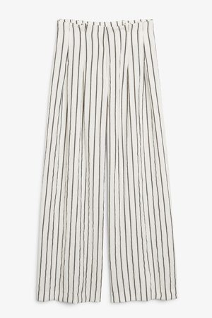 Monki Wide high-waist trousers - White