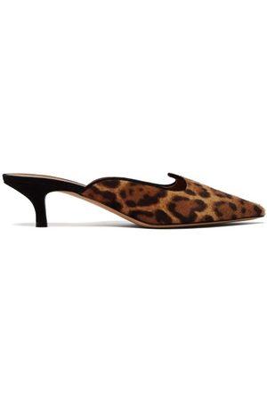 Le Monde Beryl Mules en cuir façon poulain à imprimé léopard