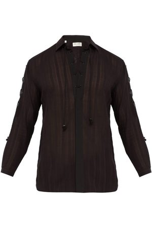 Saint Laurent Chemise en voile de coton rayée à cordons