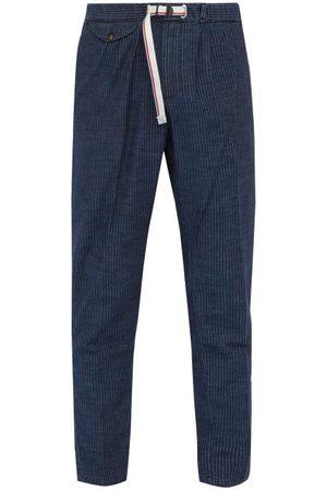 White Sand Pantalon en coton mélangé à fines rayures