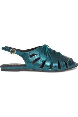 éram Sandale bleu canard métallisé à lacet