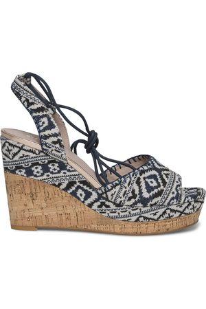 éram Femme Sandales - Sandale compensée imprimé ethnique bleu et blanc