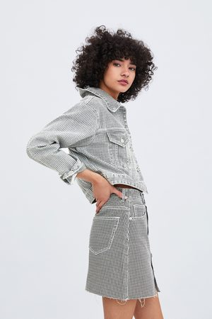 Zara Veste en jean courte pied-de-poule