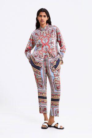 Zara Femme Pantalons larges - Pantalon fluide imprimé