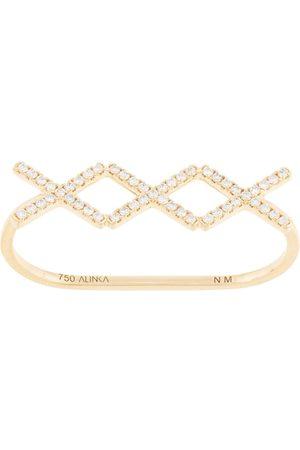 ALINKA 18kt yellow gold KATIA TRIO diamond two-finger ring