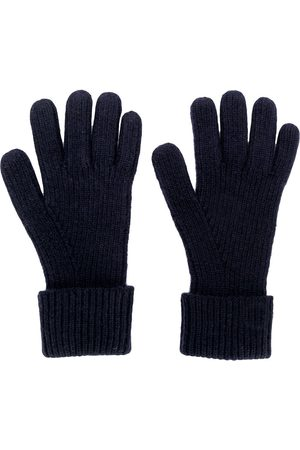 N.PEAL Homme Gants - Ribbed knitted gloves