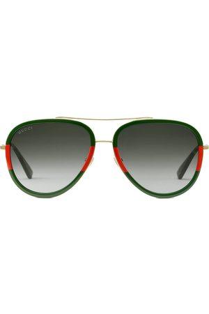 Gucci Femme Lunettes de soleil - Lunettes de soleil à monture aviateur bicolore