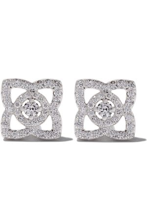 De Beers Puces d'oreilles Enchanted Lotus en or blanc 18ct et diamants