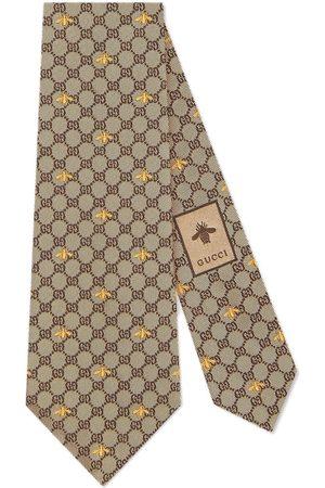 Gucci Cravate en soie à motif GG et abeilles