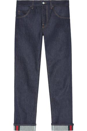 Gucci Homme Stretch - Jean fuselé foncé avec détail ruban Web