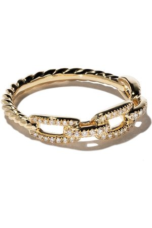 David Yurman 18kt yellow gold Stax single row pavé diamond chain link ring