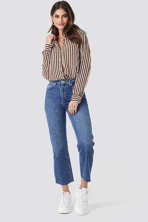 NA-KD Raw Hem Straight Jeans - Blue