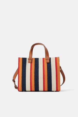 Zara Sac shopper en toile à rayures