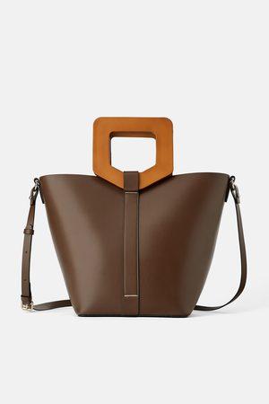 Zara Sac shopper rigide avec anse en bois