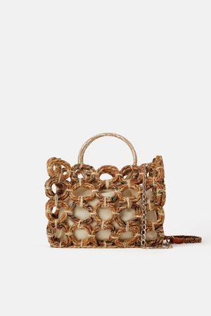 Zara Sac shopper en matières naturelles