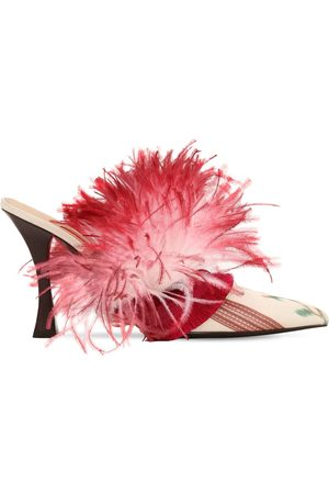 Tabitha Simmons for Brock Collection Mules En Satin Avec Plumes 100mm