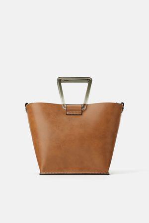 Zara Mini sac shopper à anses en méthacrylate