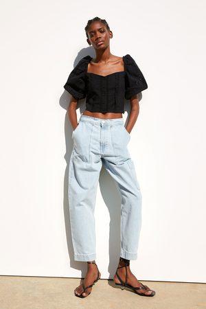 Zara Die-cut embroidered blouse