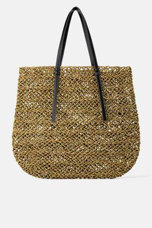 Zara Sac shopper maxi en matières naturelles
