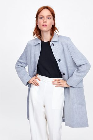 Zara Manteau à effet rustique avec boutons