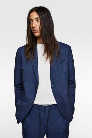 Zara Veste de costume technique à carreaux imprimés