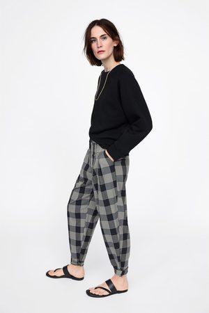 Zara Pantalon à carreaux souple