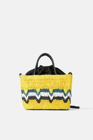 Zara Mini sac cabas tressé naturel multicolore