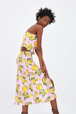 Zara Jupe à imprimé citron