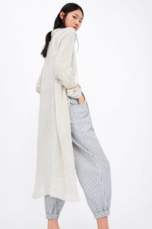 Zara Pantalon ample à rayures avec ceinture